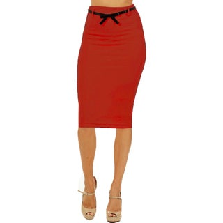 Women's High Waist Below Knee Red Pencil Skirt