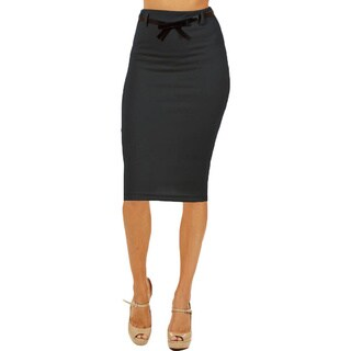 Women's High Waist Below Knee Dark Grey Pencil Skirt