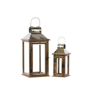 Wooden Square Lantern with Classic Design (Set of 2)