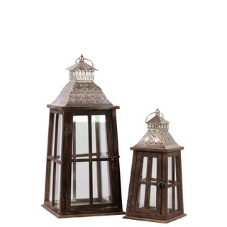 Wooden Square Lantern with Wider Base (Set of 2)