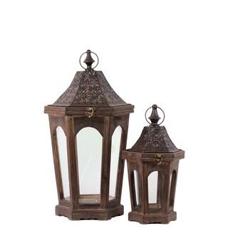 Wood Hexagonal Lantern with an Opening Top (Set of 2)