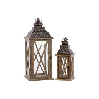 Wooden Square Lantern with Cross Section Glass Windows (Set of 2)