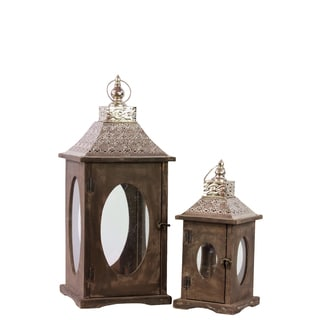 Wooden Square Lantern with Oval Glass Windows (Set of 2)