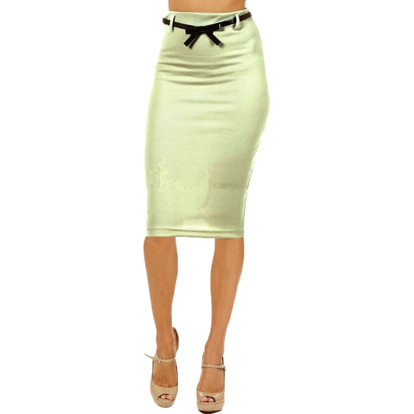 Women's High Waist Below Knee Mint Pencil Skirt