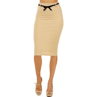 Women's High Waist Below Knee Sand Pencil Skirt