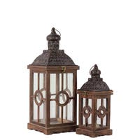 Wood Square Lantern with Unique Glass Window Panes (Set of 2)