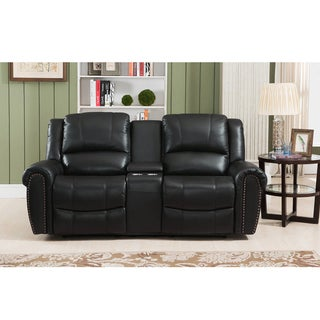 Houston Top Grain Leather Reclining Loveseat with Memory Foam and USB Ports