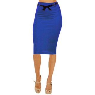 Women's High Waist Below Knee Royal Blue Pencil Skirt