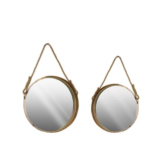 Round Antique Gold Wall Mirror with Rope Handle (Set of 2)