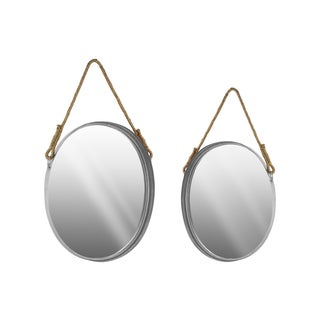 Round Metallic Wall Mirror with Rope Handle (Set of 2)