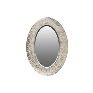 Metal Elliptical Wall Mirror with Pierced Metal Frame Electroplated Finish Champagne