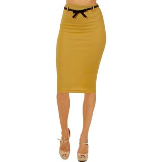 Women's High Waist Below Knee Mustard Pencil Skirt