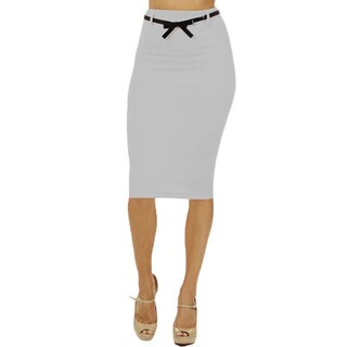 Women's High Waist Below Knee Light Grey Pencil Skirt