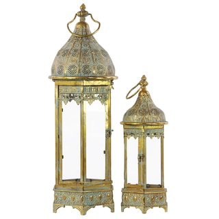 Pierced Electroplated Gold Finish Metal Lantern with Ring Hanger, Glass Sides and Hexagonal Base (Set of 2)