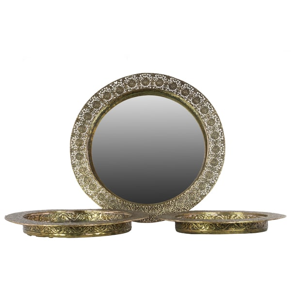 shop pierced electroplated gold finish metal round wall mirror set of 3 free shipping today. Black Bedroom Furniture Sets. Home Design Ideas