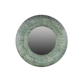 Metal Blue Verdigris Cyan Pierced Wall Mirror