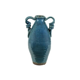 Ceramic Tuscan Vase with 2 Handles Craquelure Gloss Distressed Gloss Finish Marine Blue