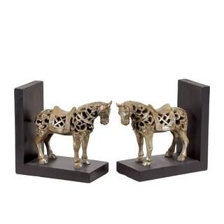 UTC80146-AST: Resin Standing Horse Figurine with Saddle Bookend Assortment of Two Glaze Finish Champagne