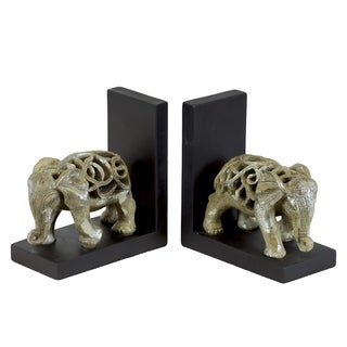 Glazed Champagne Finish Resin Elephant Figurine with Cutout Design Bookend (Set of 2)