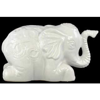 White Ceramic Laying Elephant Figurine