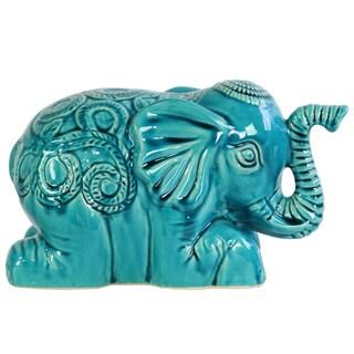 Blue Ceramic Laying Elephant Figurine with Embossed Swirl Design