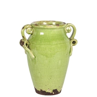 UTC76041: Ceramic Round Bellied Tuscan Vase with 2 Looped Handles Craquelure Distressed Gloss Finish Yellow Green