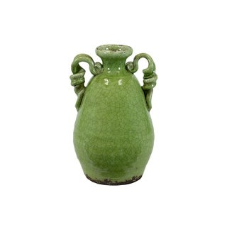 UTC76037: Ceramic Round Bellied Tuscan Vase with 2 Looped Handles Craquelure Distressed Gloss Finish Yellow Green