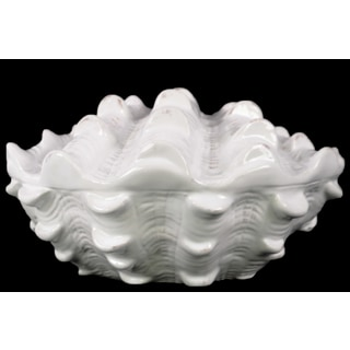 Ceramic Clam Seashell Figurine with Opening in Side Gloss Finish White