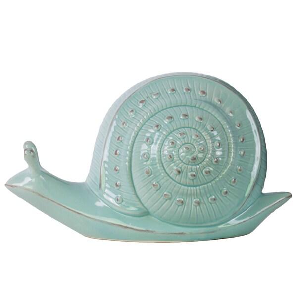 Large Blue Ceramic Snail Figurine