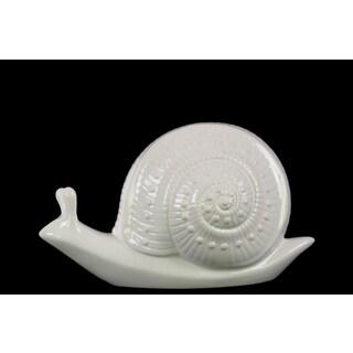 Ceramic Small Gloss Finish White Snail Figurine