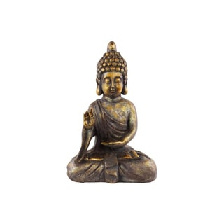 Tarnished Gold Polyresin Meditating Buddha Figurine with Rounded Ushnisha in Varada Mudra