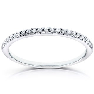 Annello by Kobelli 14k White Gold Round Diamond Petite Womens Band (H-I, I1-I2)