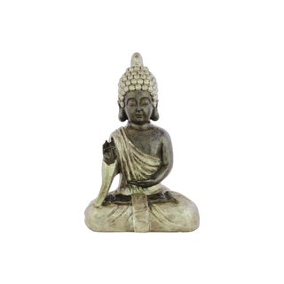 Matte Beige Finish Resin Meditating Buddha Figurine with Pointed Ushnisha in Karana Mudra