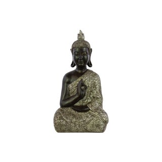 Matte Silver Finish Resin Meditating Buddha Figurine with Pointed Ushnisha in Karana Mudra