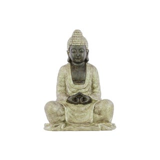 Matte Beige Finish Resin Meditating Buddha Figurine with Rounded Ushnisha in Mida-no Jouin Mudra