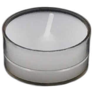 Set of 100 White Unscented Tealight Candles In Clear Cups