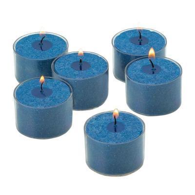 Navy Unscented Tealight Candles with Clear Cups with 8-hour Burn (Set of 72)