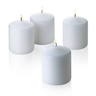 Set of Four White Unscented Pillar Candles