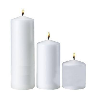 White Pillar Candles (Set of 3)