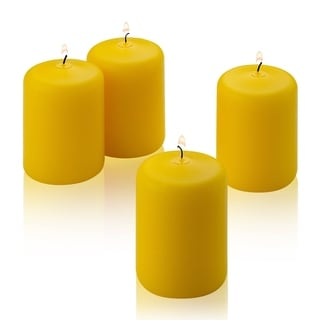 Four Yellow Citronella Scented 3 Inch Pillar Candles