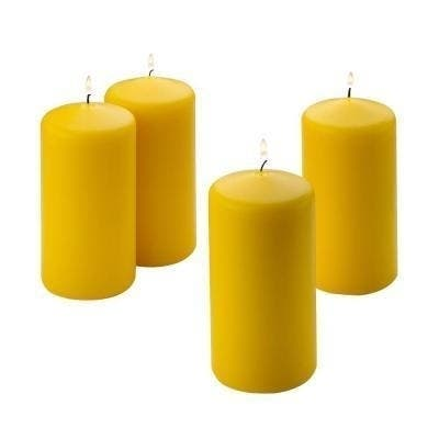 Yellow Citronella Scented Pillar Candles (Set of 4)