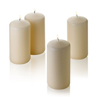 """Set of Four French Vanilla Pillar Scented Candles - 3""""d x 6""""h"""