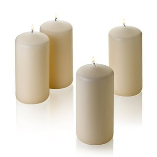 "Set of Four French Vanilla Pillar Scented Candles - 3""d x 6""h"
