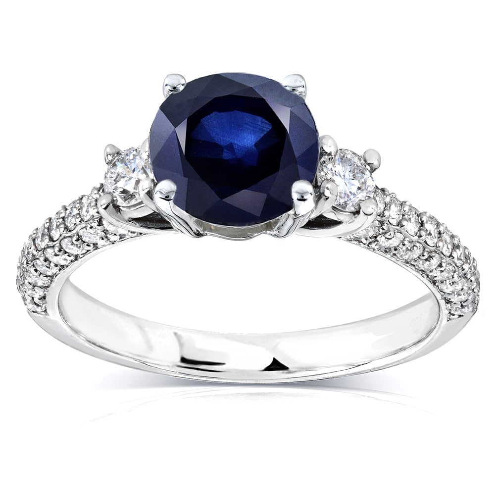 Annello by Kobelli 14k White Gold Round Sapphire and 1/2c...