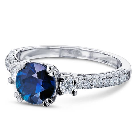 Annello by Kobelli 14k White Gold Round Sapphire and 1/2ct TDW Diamond Three Stone Ring (