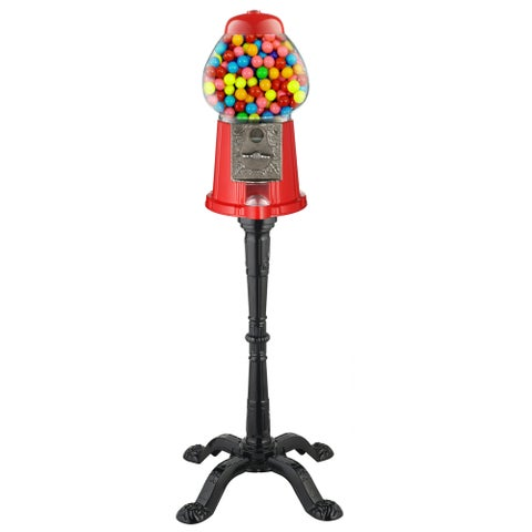 Great Northern Red/Black Glass/Metal 37-inch Vintage Gumball Machine Bank with Stand