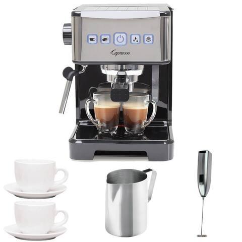 Capresso 124.01 Ultima PRO Programmable Espresso & Cappuccino Machine + (2) Cappuccino Cups + Pitcher + Frother