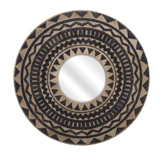 "Aztec Embroidered Wall Mirror (40""d x 1.5"")"
