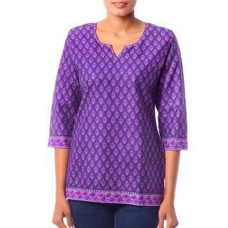 Handmade Women's Purple Floral Pattern Cotton 'Radiant Orchid Blossom' Tunic (India)