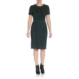 Elie Tahari Emily Evergreen Suede Dress